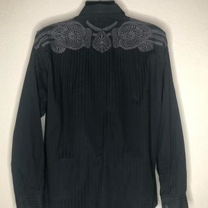 Lucky Brand Black Embroidered long sleeve shirt